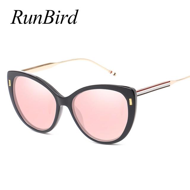 49c1c4438c RunBird Trending Women Cat Eye Sunglasses Fashion Metal Frame Men Pink  Mirror Coating Reflective Lens Shades UV400 1333R