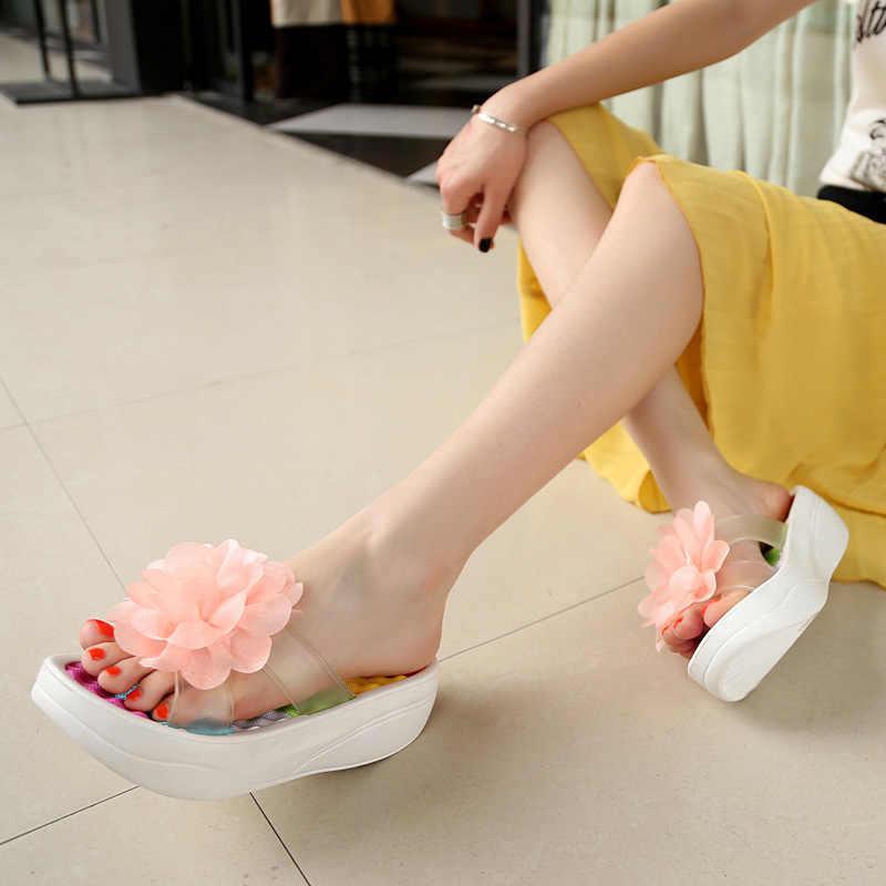 9323dac14cbe ... Summer Women S Flip-Flop Sandals Platform Flip Flops Slippers Sandals  Swing Wedges Women Hole Shoes ...