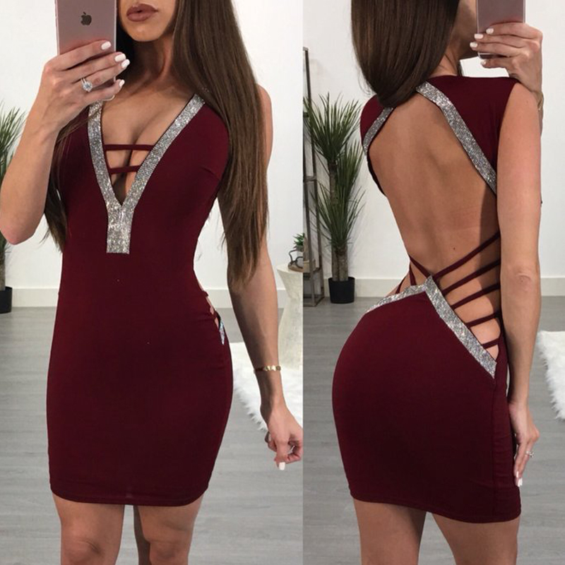 New Fashion Womens Sequin Sexy Dress Deep V Neck Summer Hollow Out Backless Ladies Evening Party Mini Dress