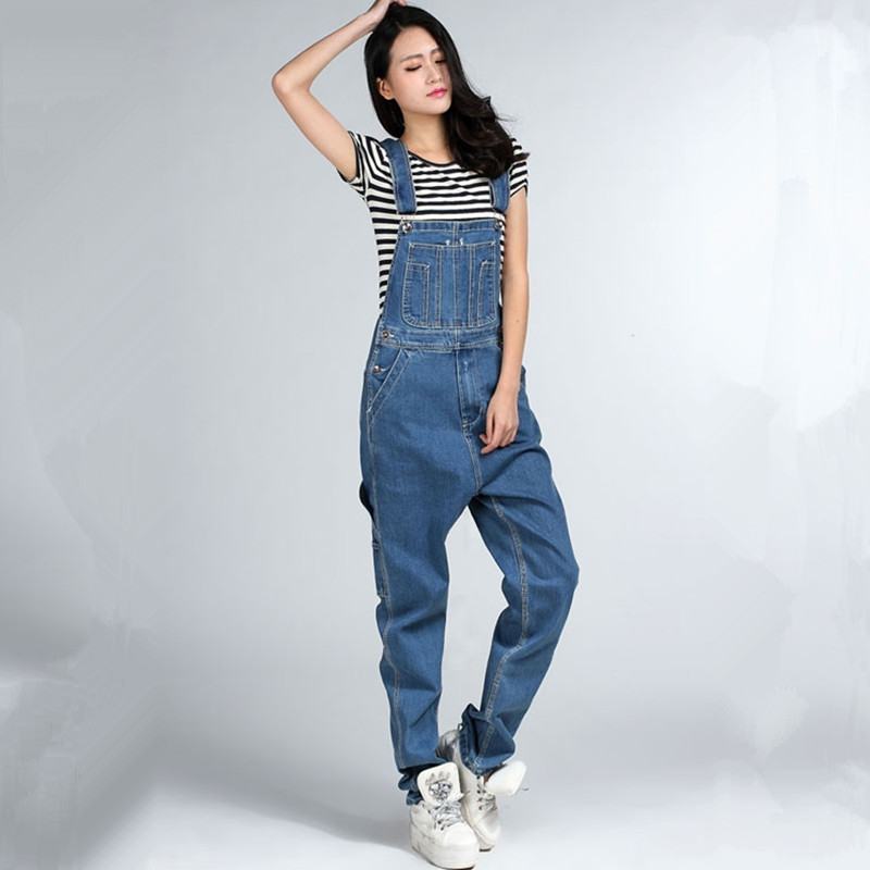 Free Shipping 2016 Fashion Boyfriend Style Loose Plus Size XXXXL Denim Bib Overalls Pants Hiphop Jumpsuit And Rompers tall Women free shipping 2016 plus size denim bib pants halter neck jumpsuit and rompers for women suspenders jeans ol straight trousers xl