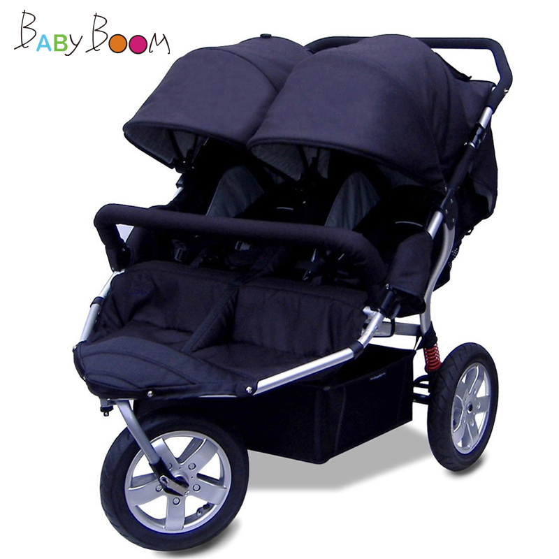 Special offer Babyboom off-road twins baby stroller shock pneumatic wheels double baby stroller 3 wheels baby car 4 colors gifts babyboom off road twins baby stroller shock pneumatic wheels double baby stroller