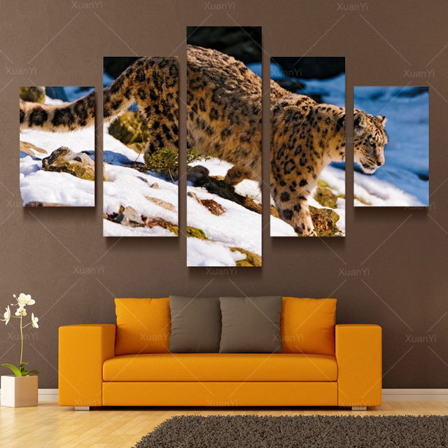Comprar 5 panel moderna impreso leopardo africano cuadro pintura al leo lienzo - Enmarcar lienzo ...
