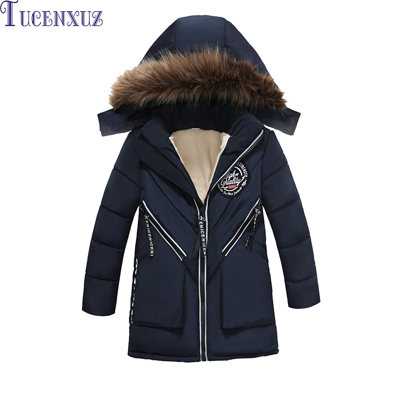 New boys outwear children's hooded handsome kid long sleeve coat autumn and winter warm coat trendy lace up long sleeve blue hooded quilted coat for women