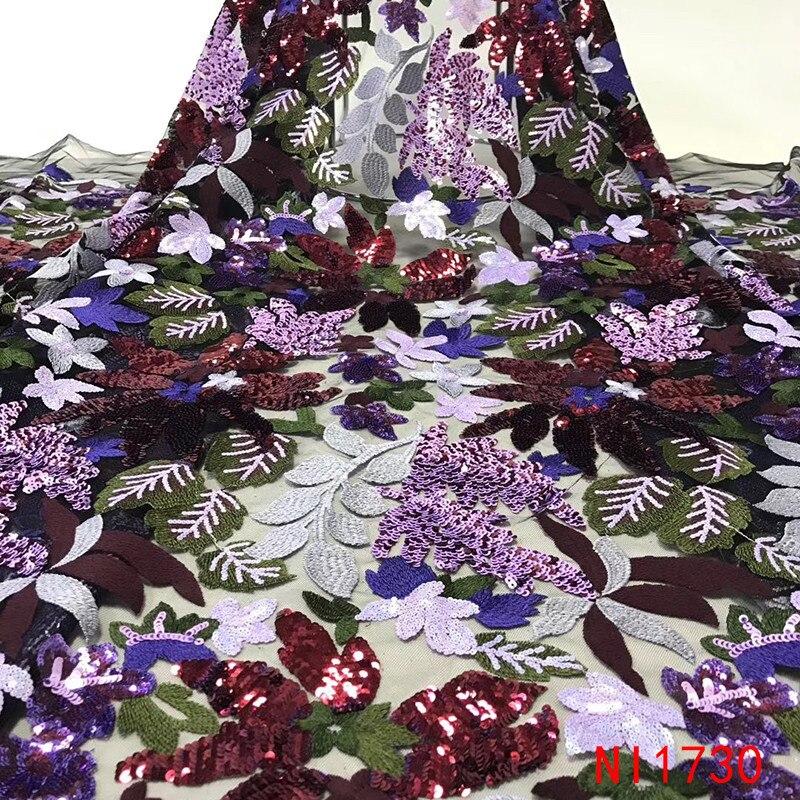 Ev ve Bahçe'ten Dantel'de Son Afrika Kumaşlar Çiçekler Yüksek Kalite 2019 Nijeryalı Net Dantel payetli kumaş Dizisi Dantel Kadın Elbiseler için NI1730 1'da  Grup 2