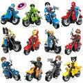 12 unids marvel super heroes avengers escudo de la motocicleta motor 3d modelo de bloques de construcción de juguetes compatible con lego loho sx901