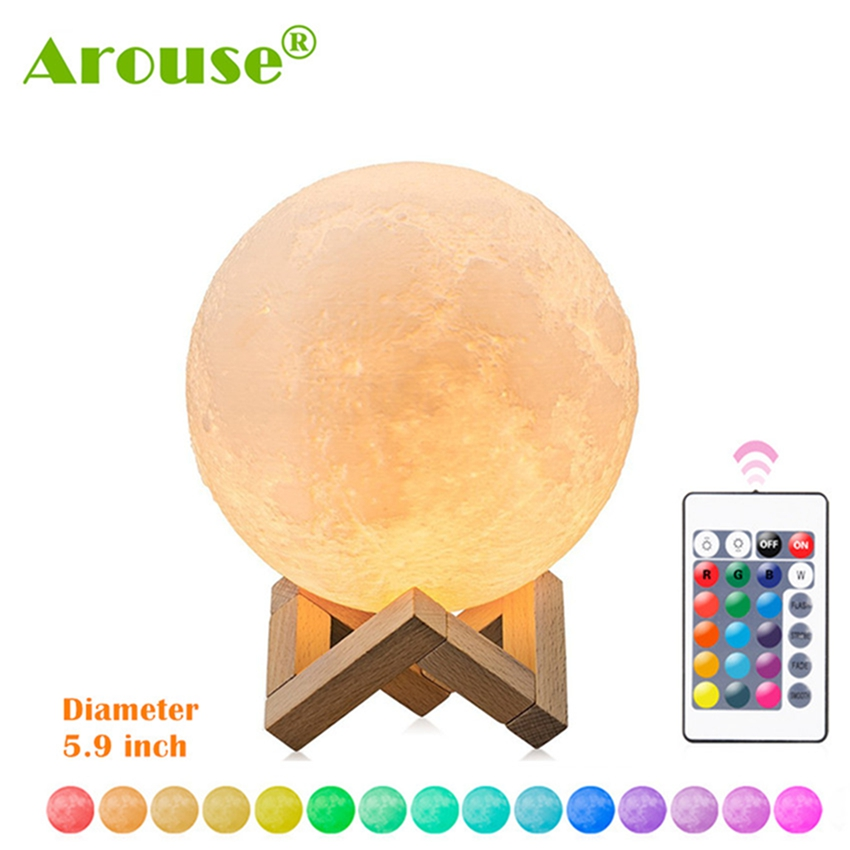 3D Print Moon Lamp AROUSE Rechargeable Night Light RGB Color Change Remote / Touch Switch Bedroom 3D lunar Moon Lamp Home Decor
