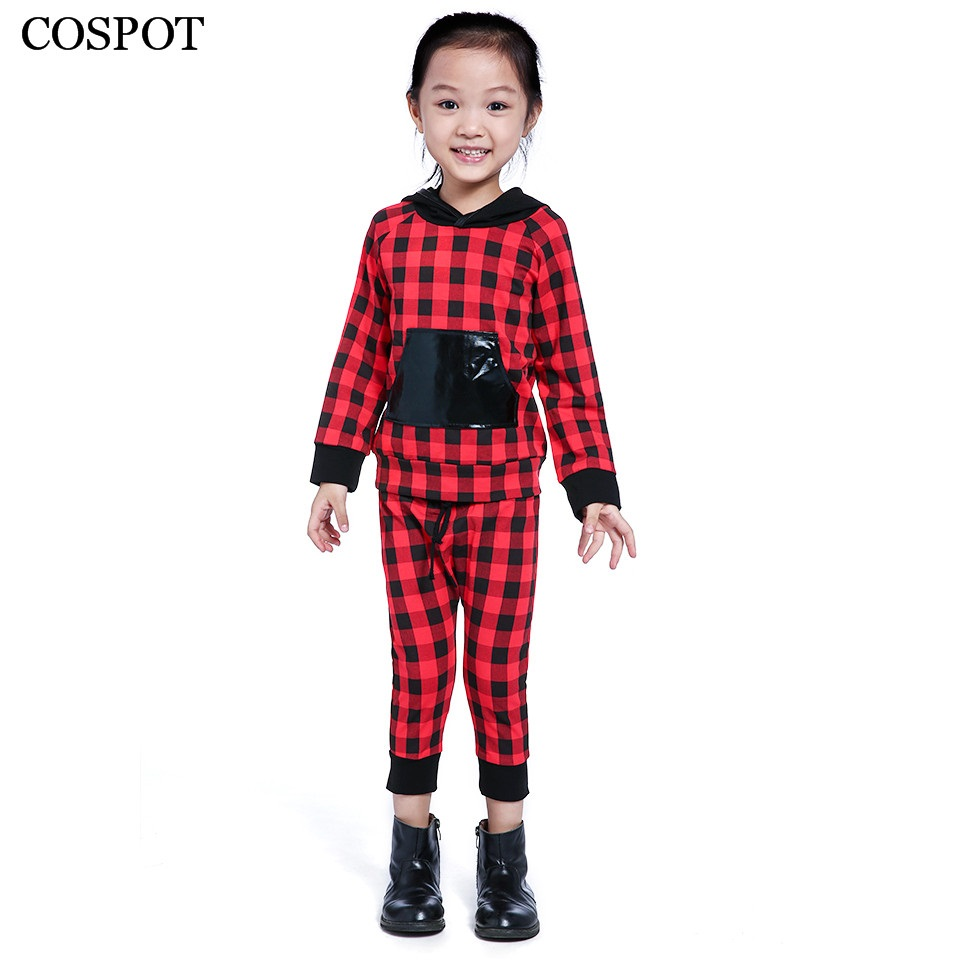 COSPOT Baby Boys Girls Christmas Clothing Set Kids Cotton Red Plaid 2Pcs Suit Hoodies+Pants Girl Autumn Suit 2017 New Arrive 42C 2015 new arrive super league christmas outfit pajamas for boys kids children suit st 004