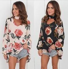 купить Womens Tops and Blouses Floral Chiffon Blouse Women Clothes 2018 Casual V-neck Loose Long Sleeve Summer Thin Elegant Flower Tops онлайн