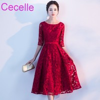 Vintage Red Lace Short Modest Bridesmaid Dresses With 1/2 Sleeves A line Tea Length Women Informal Wedding Party Dress 2018
