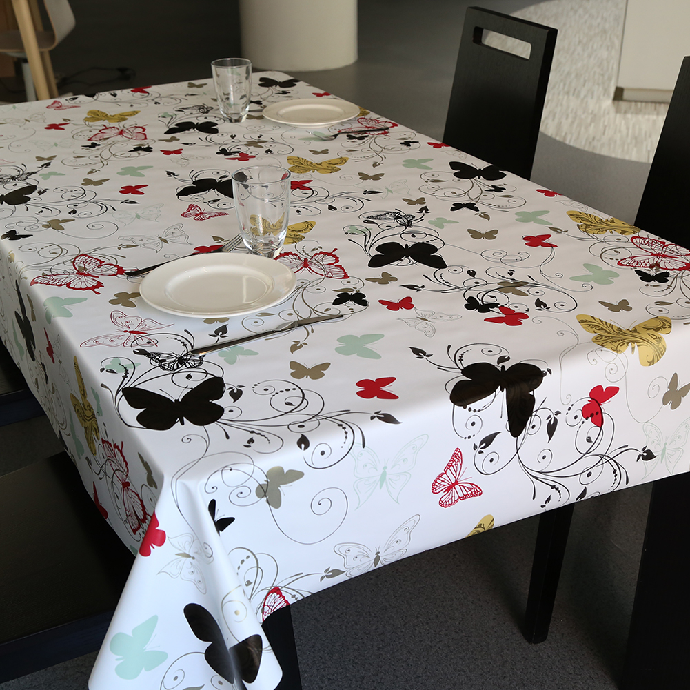 Pastoral Style PVC Table Cloth butterfly Flowers Printed Waterproof Oilproof Rectangle Table Cover Home Party Wedding Tablecloth