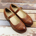 Retro Genuine Leather Buckle Strap Womens Casual Comfy Autunm Flats Shoes Students Fashion Oxfords
