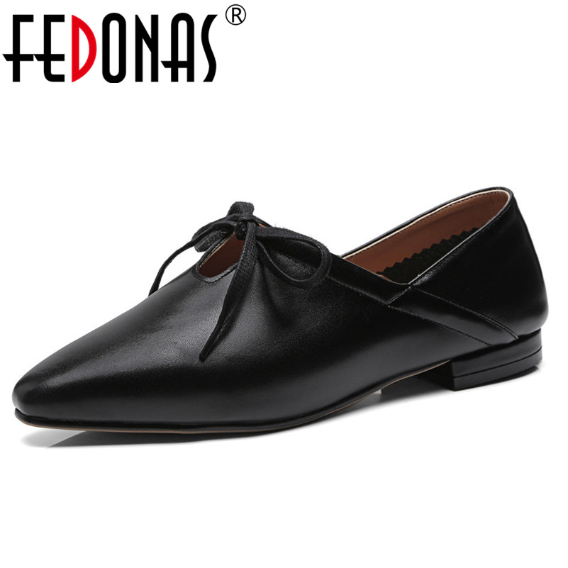 FEDONAS Shoes Woman Flats Casual Round Toe Spring Lazy Loafers Shoes Woman Single Lace Up Brand Female Flats Shoes Ladies Flats цены