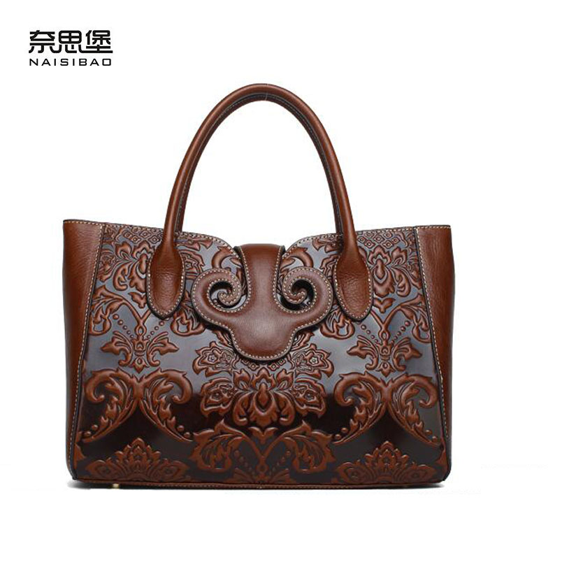 New women genuine leather bag brands chinese style Head layer cowhide embossed fashion quality women handbags shoulder bag fashion leather handbags luxury head layer cowhide leather handbags women shoulder messenger bags bucket bag lady new style