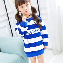 Long-sleeved letters sweater brand new spring and autumn children's cotton sweater girl in the long striped sweater Y3102