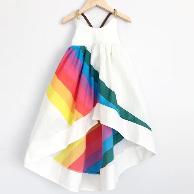 New BOBO CHOSES Summer Clothing Girls Rainbow Print Dress Girls Sleeveless A Line Dress Robe Fille bobo choses юбка bobo choses модель 281253496