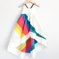 New BOBO CHOSES Summer Clothing Girls Rainbow Print Dress Girls Sleeveless A Line Dress Robe Fille