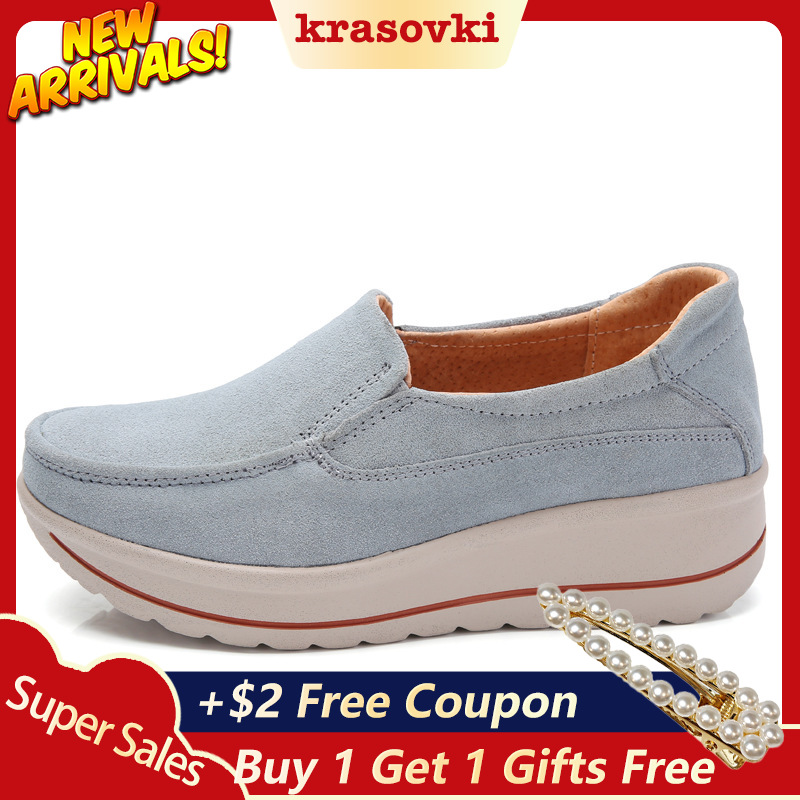 Krosovki Women Shoes Platform Slip on Creepers Moccasins Genuine Leather Slipony Female Suede Sneakers