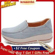 Krosovki Women Shoes Platform Slip on Creepers Moccasins Genuine Leather Slipony Female Suede Sneakers