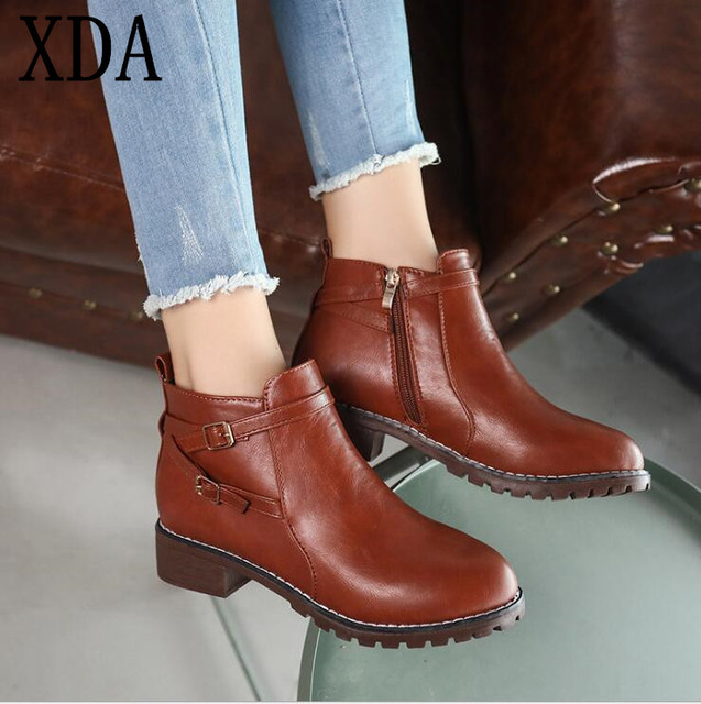 bd7463adea88 XDA 2019 New Fashion boots European Style Black Ankle Boots Round Toe low  heel Zipper Martin Boots PU Leather Woman Shoes F897