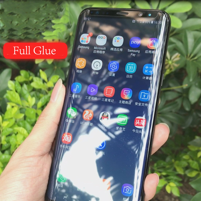 3D Full Screen Glue Tempered Glass For Samsung Galaxy S8 S9 Plus Note 8 9 Protector Film Full Adhesive Coverage Explosion Proof