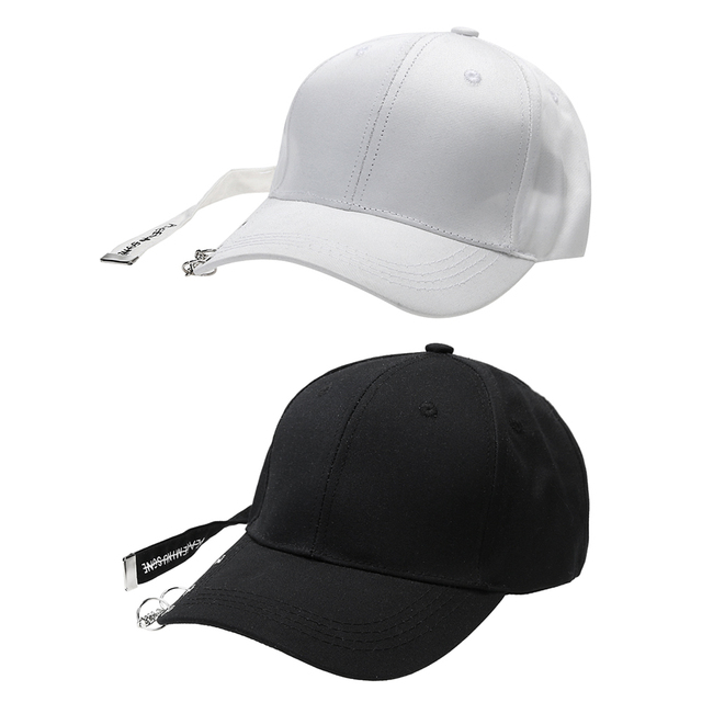 Unisex Solid Ring Safety Pin Curved Hats Women Baseball Cap Ring Hip Hop Curved  Strapback Baseball Snapback Dad Cap Adjustable 50416a0f115