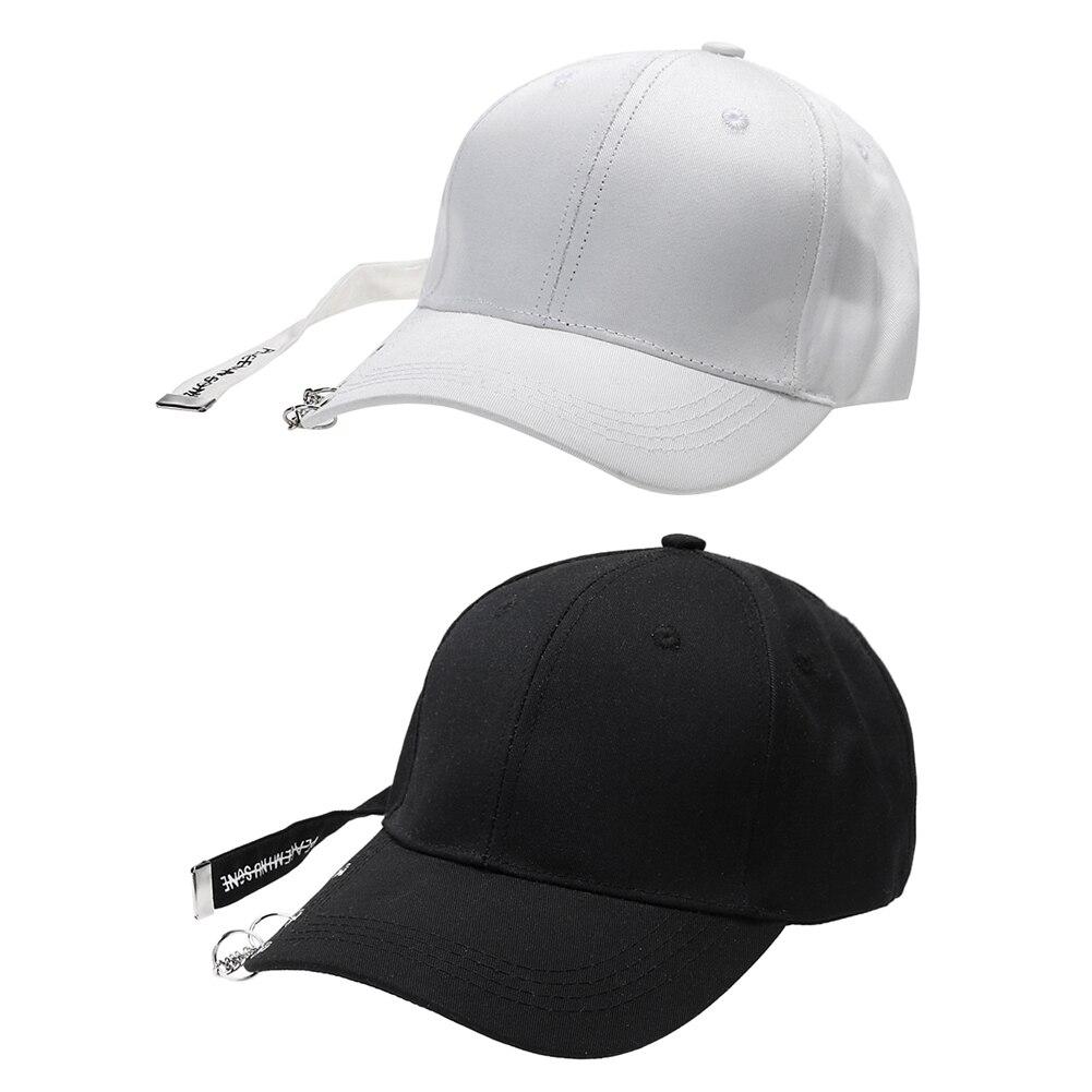 Unisex Solid Ring Safety Pin Curved Hats Women Baseball Cap Ring Hip Hop Curved Strapback Baseball Snapback Dad Cap Adjustable