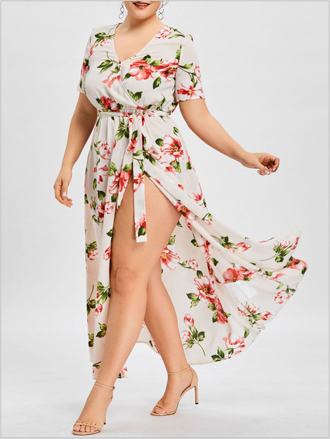 Women Dress 2018 New Summer Vintage Sexy Maxi Long Floral Print Dress Vestidos Robe Plus Size Bandage Party Dress HJ852