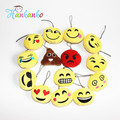 50pcs/lot  5cm Novelty Emoji Small Pendant Smiley Emoticon Soft Plush Toys Key&Bag Chain Phone Strap
