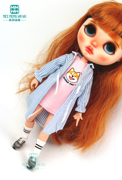1pcs Blyth Doll Clothes Casual striped shirt blue, pink, black for Azone1/6 doll accessories