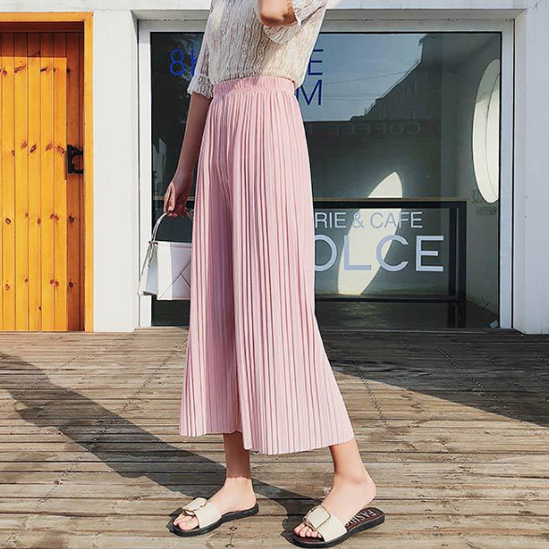 Fashion Women Chiffon Loose   Pants   High Waist Ruffled Hem Thin Pleated Trumpet Casual Trousers KA-BEST