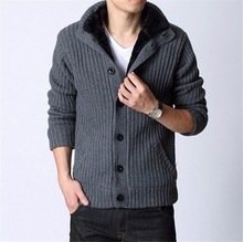 Free shipping autumn winter men's Cardigans plus velvet full sleeve Warm waistcoat male casual thicken knit slim sweater 3 color