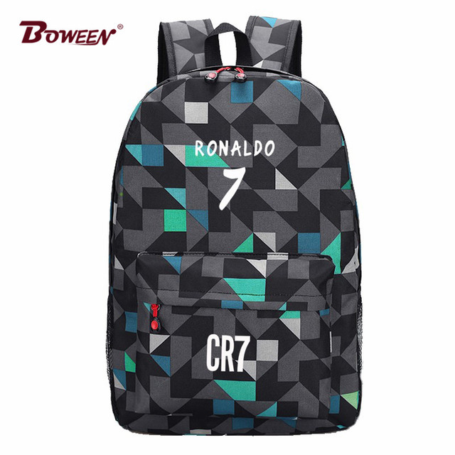4e0b8e671c4a Подросток мужчин рюкзак мальчики школьные сумки для подростков мешок школы  Криштиану Роналду Рюкзаки моды рюкзак школьный