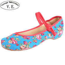 Old Peking Women's Shoes Chinese Flat Heel With Flower Embroidery Comfortable Soft Canvas Shoes Size 34- 41
