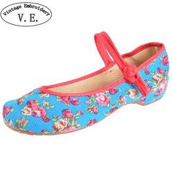 Vieux Pékin Chaussures Chinois de Femmes Talon Plat Avec Fleur Broderie Confortable Doux Toile Chaussures Taille 34-41