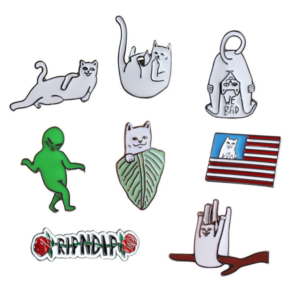 New Fashion Cartoon Funny Spoof Cactus Cat Pins And Brooches Pin Badges Hat Backpack Accessories Lovers Jewelry Gift Elegant And Sturdy Package Home & Garden Badges