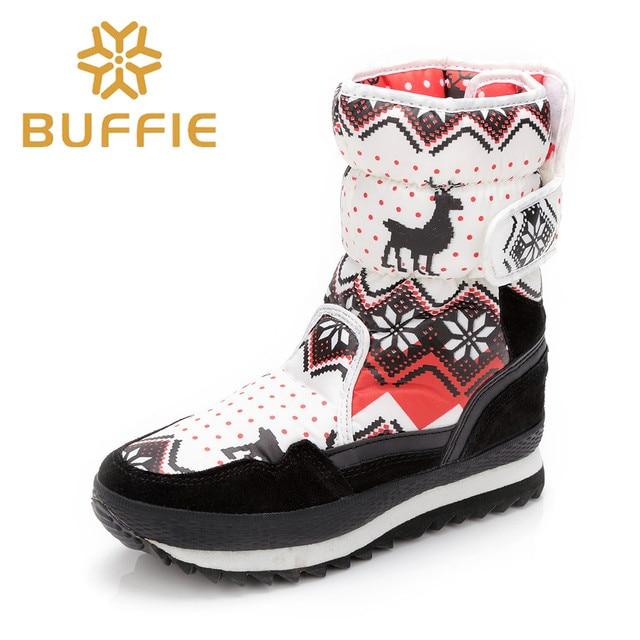 Marca BUFFIE EVA Impermeable Botas de Invierno Botas Nieve de Las Mujeres Mediados de-becerro Classic Invierno de Las Mujeres Zapatos de Las Mujeres Botas Cortas Felpa 90602