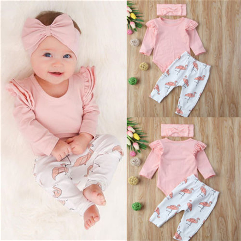7e40a1ec69d3d Toddler Infant 3Pcs Baby Girl Clothes Set Newborn Cute Pink Ruffle Long  Sleeve Tops+Flamingo Pants+Headband Toddler Clothing ~ Premium Deal June  2019