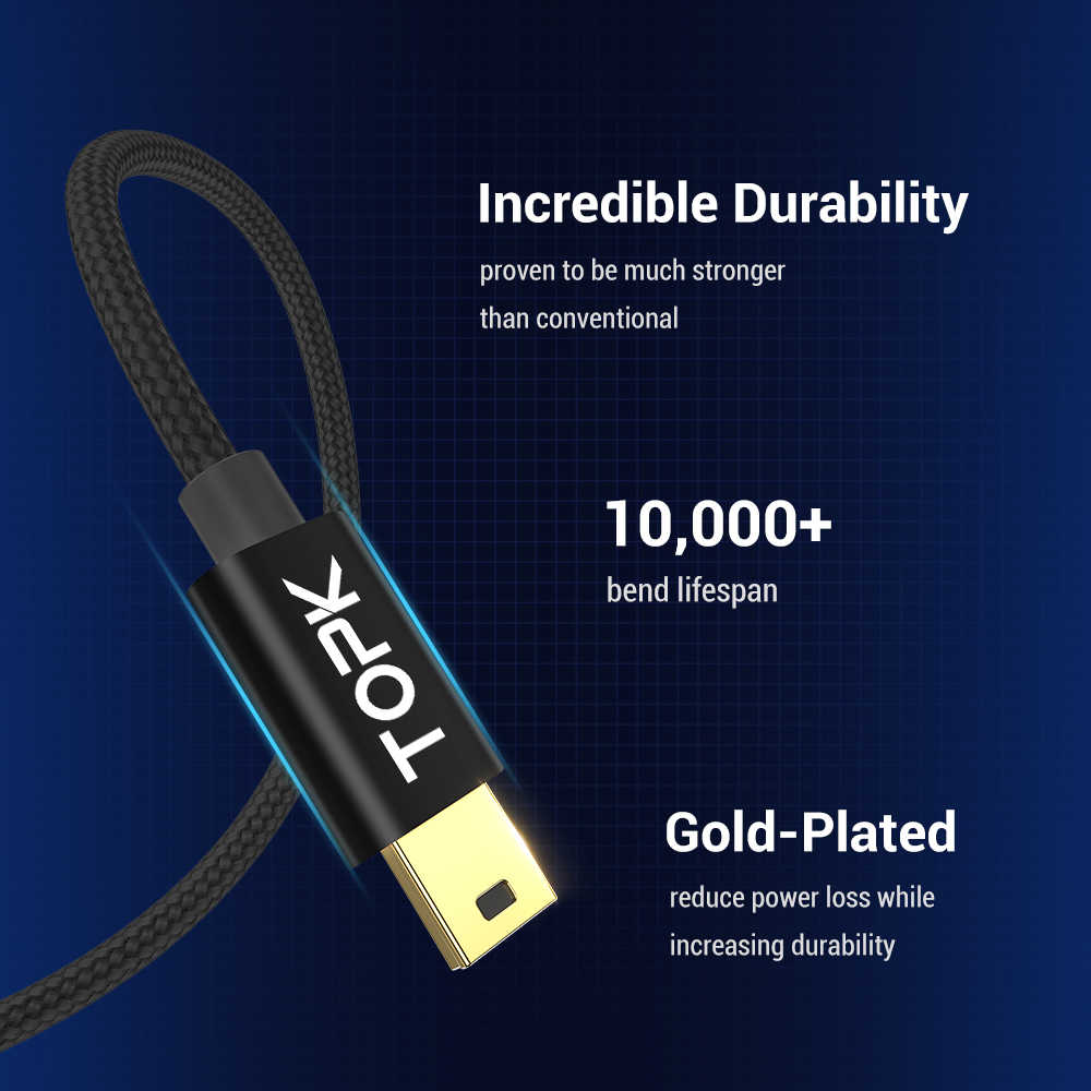 Topk Mini Usb Kabel Mini Usb Naar Usb Snelle Data Sync Charger Cable Voor Mobiele Telefoon Digitale Camera MP3 MP4 speler Tabletten Gps