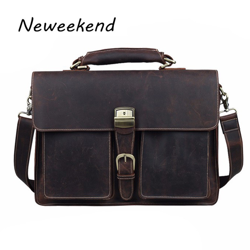 NEWEEKEND 1031 Vintage Casual Genuine Leather Crazy Horse 15 Inch Handbag Briefcase Shoulder Crossbody  Laptop Bag for Man neweekend 1005 vintage genuine leather crazy horse large 4 pockets camera crossbody briefcase handbag laptop ipad bag for man