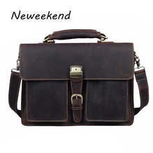 NEWEEKEND 1031 Vintage Casual Genuine Leather Crazy Horse 15 Inch Handbag Briefcase Shoulder Crossbody  Laptop Bag for Man