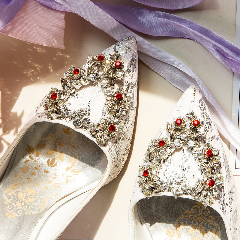 Sweet Lace Shallow Pumps Pointed Toe High Thin Heels Crystal Pumps Designer Woman Party Wedding Pumps
