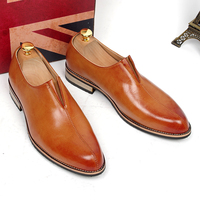 High Quality Men S Business Formal Dress Genuine Leather Lazy Shoes Slip On Loafers Office Career