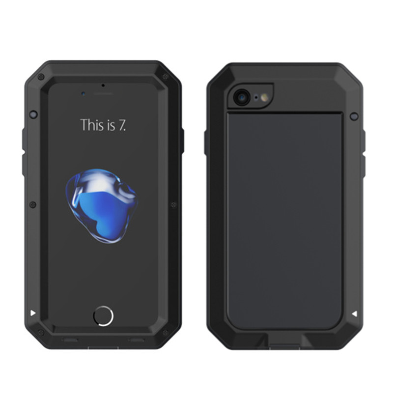 imágenes para Lujo doom vida a prueba de agua de metal para trabajo pesado armor case para iphone 7 7 plus cubierta a prueba de golpes de aluminio + vidrio templado
