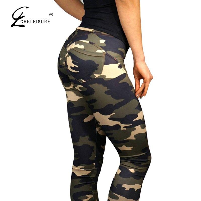 CHRLEISURE Camouflage Leggings di Fitness Pantaloni Donna Sexy Push Up Legging Sporting Activewear Sottile Jeggings Legins Donne S-L