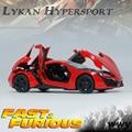 1:32 niños juguetes Fast & Furious 7 Lykan Hypersport Mini Auto de coches de juguete de metal modelo de tira del coche para los juguetes niños
