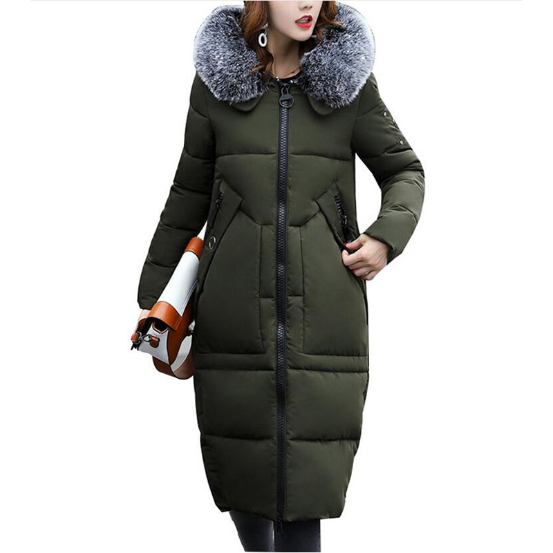 women Winter Jacket Cotton-Padded Warm Parkas Women Jackets Long Slim Fur collar hooded Coat for women Clothing Plus size 5L07 wmwmnu women winter long parkas hooded slim jacket fashion women warm fur collar coat cotton padded female overcoat plus size
