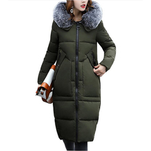 women Winter Jacket Cotton-Padded Warm Parkas Women Jackets Long Slim Fur collar hooded Coat for women Clothing Plus size 5L07