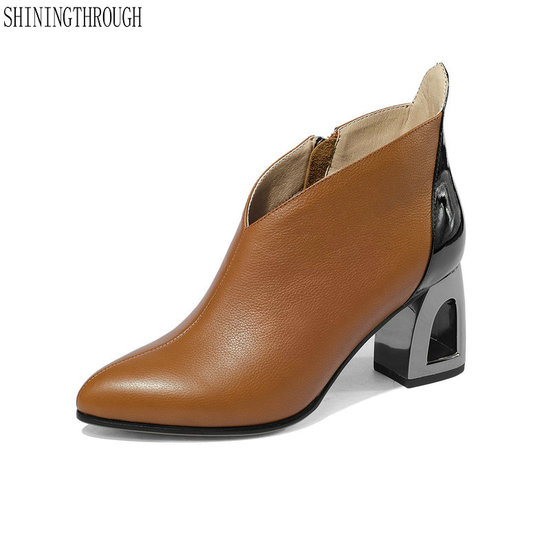 New ankle boots woman genuine leather high heels women dress shoes white orange ladies boots large
