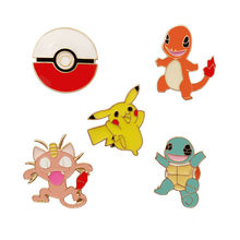 Paduan Enamel Kuning Pokemon Pikachu Super Monster Go Pokeball Brocade Lencana Kerah Pin Aman Brooche Syal Wanita Perhiasan Hadiah(China)