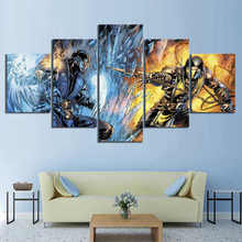 5 Piece Cartoon Pictures Artwork Mortal Kombat Game Poster Paintings Canvas Art for Room Wall Decor